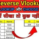 How to use reverse vlookup in excel in Hindi    Vlookup+choose function   Right to Left Vlookup
