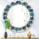 Designart 'Geometric abstract waves in gold and marine blue' Modern Round or Oval Wall Mirror - Leaves (31.5 in. wide x 31.5 in. high), DESIGN ART