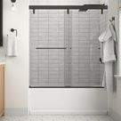 Simplicity 60 In. X 59-1/4 In. Mod Semi-Frameless Sliding Bathtub Door In Nickel And 1/4 In. (6Mm) Clear Glass