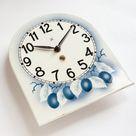 1930s Art Deco PFEILKREUZ Germany Pottery Wall Clock HAU Junghans mcm Germany Kitchen WGP Spray Deco