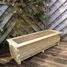 The Saintbury Rustic Large Rectangular Block Tanalised Wood Garden Patio Planter Supplied Assembled