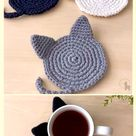 Cat Coasters  100 Cotton  Minimalist Table Decor  Cat Lover Gift  More Color Options