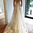Deep V neck Wedding Dress,Lace Wedding Dress,Spaghetti Straps Beach Wedding Dress N74
