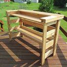 Outdoor Cedar Bar with Cooler and Bottom Shelf