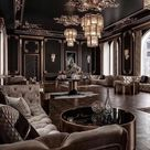 Stunning art deco style black and gold living room decor with tufted sofas
