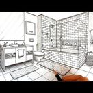 Drawing a Bathroom in Two Point Perspective   Timelapse