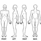 wedstrijd: Body diagram for professional massage chart: front, back, left and right views | Icoon of knop