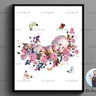 12 Watercolor Newborn Art Prints Floral Fetus in Womb Baby Shower Decor OBGYN Art Pregnancy and Obstetrics Poster Pregnant Woman Gift