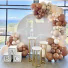 Champagne And White Balloon Decoration Arch Idea For Baby Shower