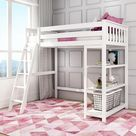 Kid's Twin High Loft Bed with Bookcase