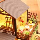 Miniature Dollhouse DIY Kit,Furniture House Chinese Style Architecture Handmade Entertainment Wooden Dollhouse Model Kit for Adult,Child,Home Decoration,Birthday Creative Gift,DIY Toys
