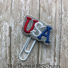 USA Feltie Planner Clip, Usa Planner Paperclip, Love the USA,  Planner Accessories, Gifts under 5, p