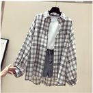 Korean Style Plaid Classic Loose Shirts Blouse Women Daily All-match Cute Student Women Clothing Fashion Vintage Shirt - M / A4