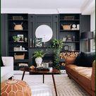 Einbauregal | Dunkle Wandfarbe | Wohnzimmer Idee