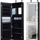Amazon.com: Giantex Jewelry Cabinet Box Armoire Door Wall Mount Lockable Touch Screen Light Built-in Zipper Pocket Inside Makeup Mirrored Storage Jewelry Box Armoires with Lipstick Holder (Black) : Clothing, Shoes & Jewelry
