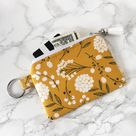 Gold Floral Keychain Wallet, Boho Wallet for Women, Minimalist Keychain Card Holder, Business Card Holder, Gift for Her, Keychains for Women