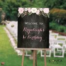 """Floral First Birthday Welcome Sign Garden 1st Birthday Sign Chalkboard First Birthday Any Color Any Age Printed Or Printable File Wsb0001 - GLOSSY PAPER 24x36"""""""