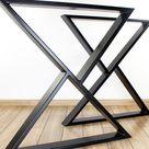 Z Shape Steel Dining Table Legs, Metal Kitchen Table Legs, Powder Coated Set of 2 Dining Table Legs
