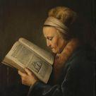 Gerard Dou, 1631 - Old Woman Reading - fine art print - Metal print (Aluminium Dibond) / 30x40cm - 12x16