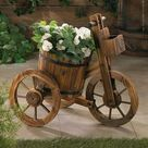 Rustic Wood Barrel Tricycle Planter - 10015794