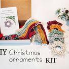 DIY Christmas ornament kit. Macrame christmas ornament set. Christmas craft kits for adults and kids