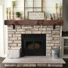 Rustic Fireplace Mantel with Metal Brackets  Mantel 5x6 6x6 | Etsy