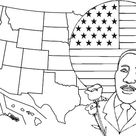 martin luther king jr with map and flag coloring page