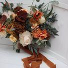 Boho bouquet Orange rust peach flowers Bridal bouquet Faux bouquet Fall wedding  Silk flowers Boho w