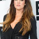 khloe kardashian long hair style in black dress