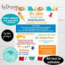 Editable Weekly Newsletter, Classroom events template, INSTANT DOWLOAD, Note from teacher, Editable School Newsletter