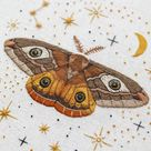 Magical Moth Friend: Hand Embroidery Pattern. Thread Painting   Etsy