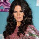 Khloe Kardashian Dark Brown Long Curly Hair in Pink Dress