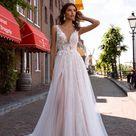 Wedding dress Briar, Sheath wedding dress, V neck wedding dress, Cathedral wedding dress, Open back