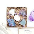 Third Eye Chakra 5-Stone Box Set   Includes Peacock Ore, Labradorite, Fluorite, Howlite, & Aquamarine    Purple Organza Bag & Detailed Crystal Info Sheet   Large Size Raw & Tumbled Stones