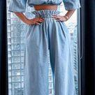 Miss Sassy 2-Piece Crop Top & Wide-Leg Pants Set - 3X (20-22) / Blue