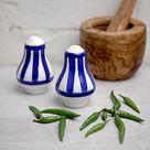 Salt and Pepper Shakers, Ceramic Cruet Set, Handmade Pottery, Navy Blue Stripe Pots, Country Cottage, Coastal Style, Housewarming Gift
