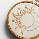 Celestial Sun & Moon PDF Embroidery Pattern Tutorial | Digital Downloadable DIY Pattern For Beginners