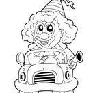 Ausmalbild  Autofahrender Clown  kostenlos ausdrucken