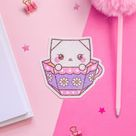 Origami Teacup Kitty Holographic Vinyl Sticker