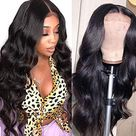 ISEE Lace Front Wigs Human Hair Body Wave 4X4 Lace Closure Wigs For Black Women Human Hair 150% Density Brazilian Virgin Human Hair Wigs Pre Plucked with Baby Hair Natural Black Color (18 Inch)