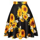 2021 Cotton Retro Vintage Women Swing Skirt Sunflower Printed Plus Size A-Line Knee-Length High Waist Big Swing 60s 50s Skirts - 2 / M