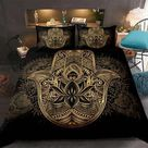 Hamsa Hand Bedding Set Boho Mandala Duvet Cover Set Black Gold Bohemia Bed Set Fatima Hand bed linen Lucky Hand Quilt Cover   01 / AU King