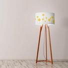 Yellow flowers with spikes Drum Lampshade Diameter 45cm (18) Ceiling or floor lamp - Ceiling + Washer