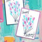 Thumbprint Birthday Balloons Card Idea For Kids