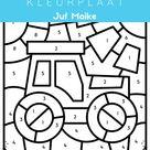 Boerderij cijferkleurplaat kleuters • Juf Maike
