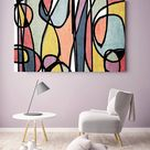 Vibrant Colorful Abstract-0-19. Mid-Century Modern Colorful Canvas Art Print Mid Century Modern Canvas Art Print up to 72