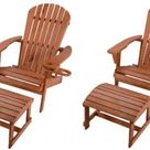 W Unlimited Earth Collection Adirondack Chair with Phone and Cup Holder, 2 Chairs and 2 Ottoman Set, WSW2101-CH2OT2