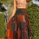 Patchwork Skirt  Long Maxi Boho Hippie  Smocked Ruched Waist   Etsy