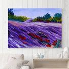 Lavender field, lavender field art, lavender painting, French landscape, lavender gift, lavender