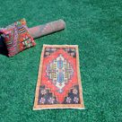 Vintage Handmade Turkish small area rug doormat for home decor, bathroom rug, area oushak rug bathroom mat kitchen kilim rug, rug 3.2x1.6